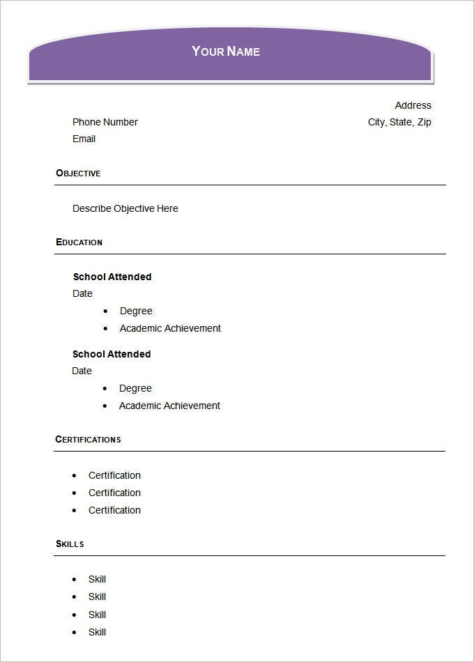 sample academic blank resume - Word Resume Samples