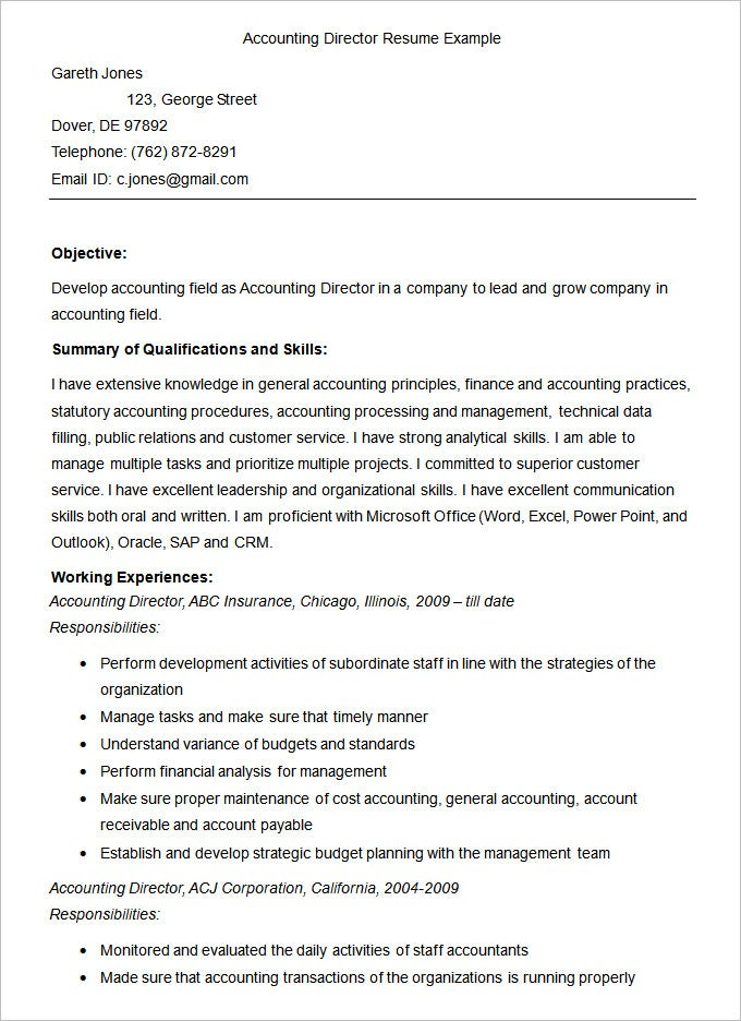 sample accounting director resume template112