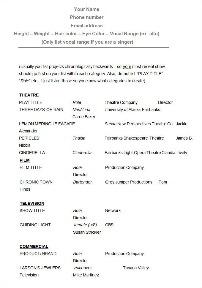 sample acting resume template free download - Free Blank Resume Templates