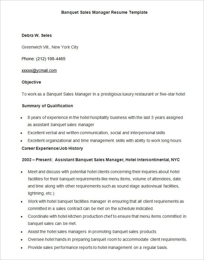 sample banquet sales manager resume template download - Resume Templates For Ms Word