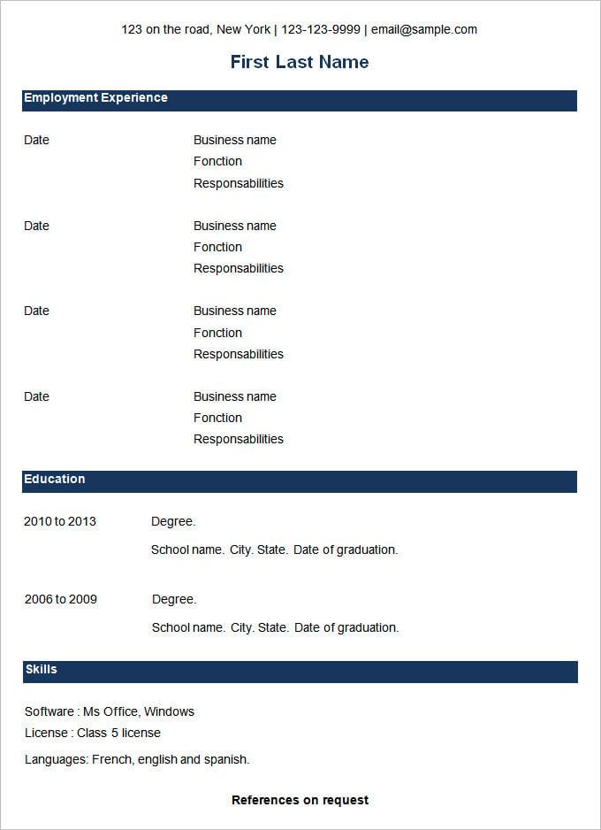 Simple Resume In Word Format