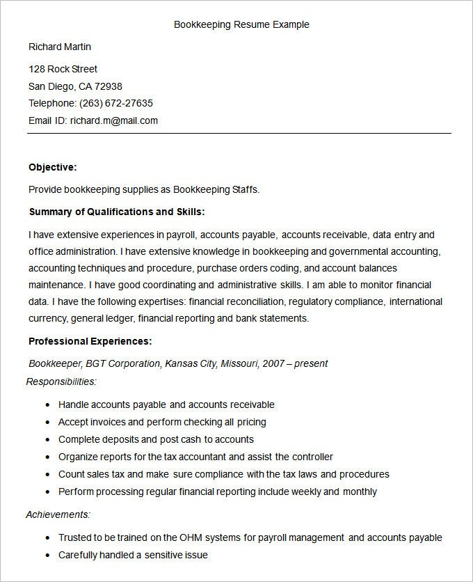 Bookkeeper Resume Examples  Resume Examples And Free Resume Builder