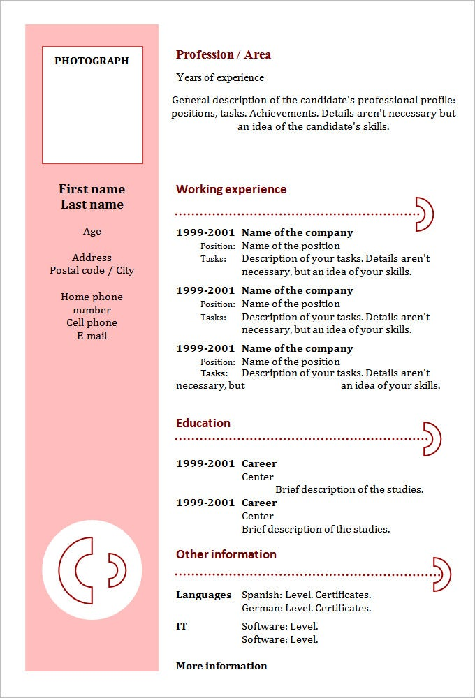 Chronological Resume Template   Free Samples Examples Format