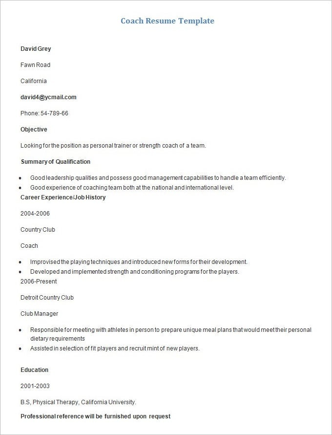 Sample Coach Resume Template. Free Download