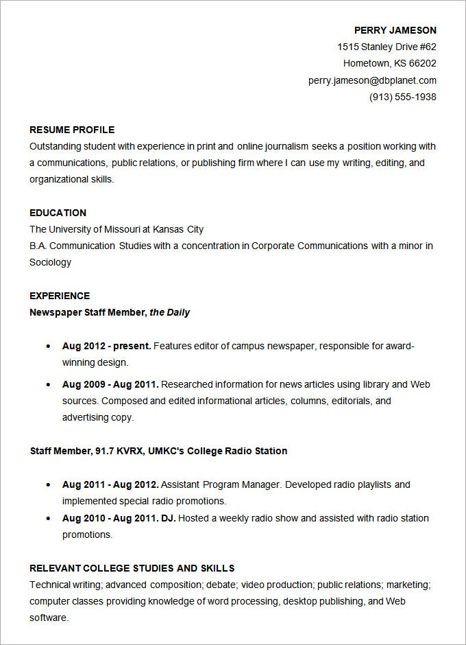 example of student resume example student resume student sample