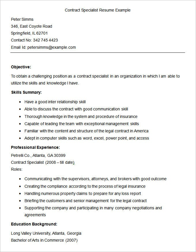 Sample Contract Specialist Resumes  Template