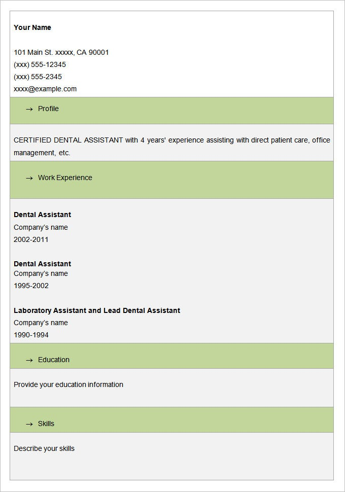 Sample Dental Assistant Blank Resume Template. Free Download