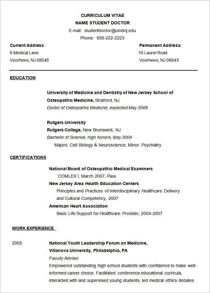 Sample Doctor Resume Template  Resume Format Microsoft Word