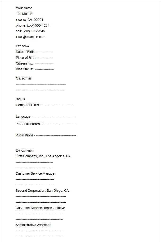 Empty Resume Format The Blank Resume Out Blank Resume Formats
