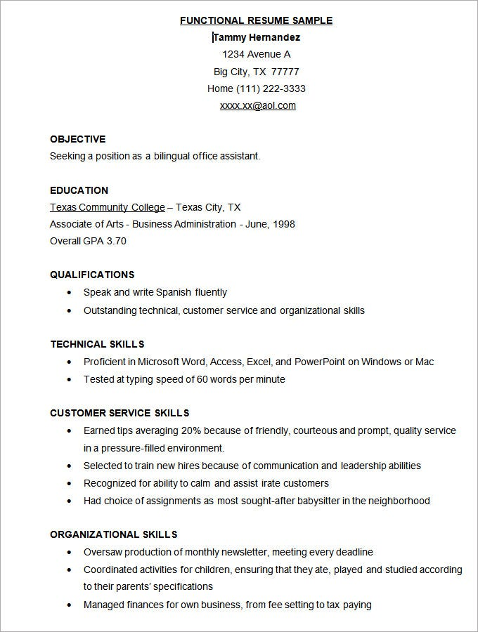 sample free functional resume template free download