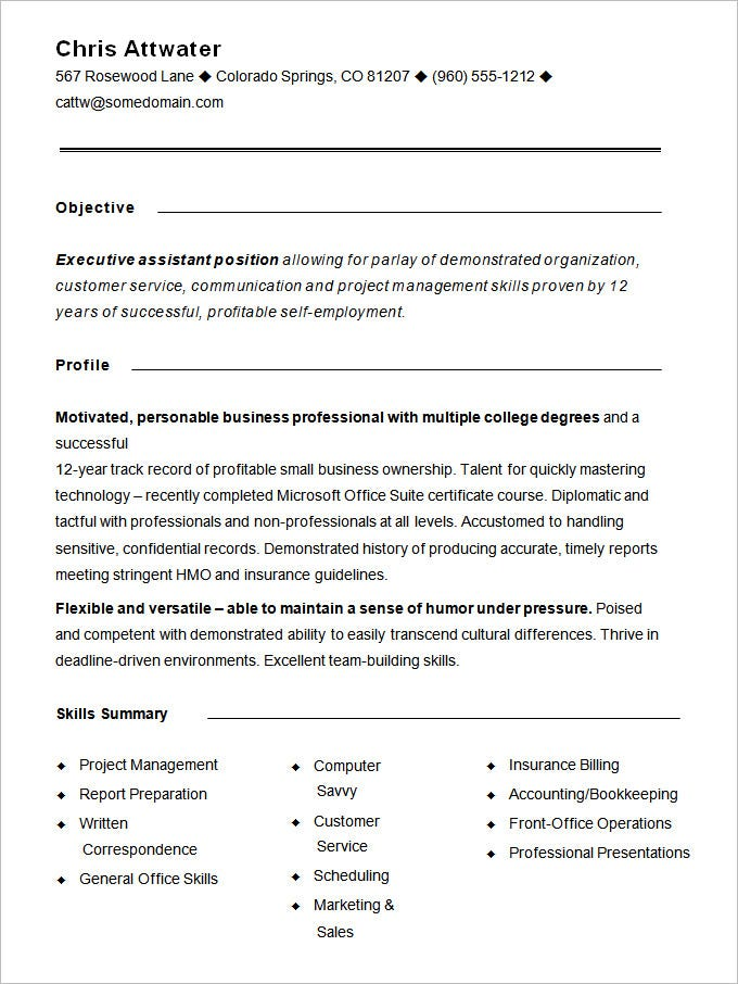 Resume Functional Template  CityEsporaCo