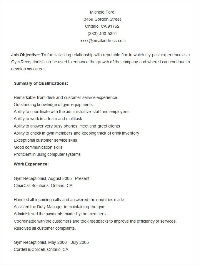 Word Resume Template   Free Samples Examples