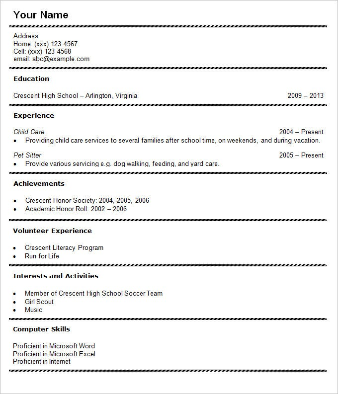Sample High School Student CV Resume Template