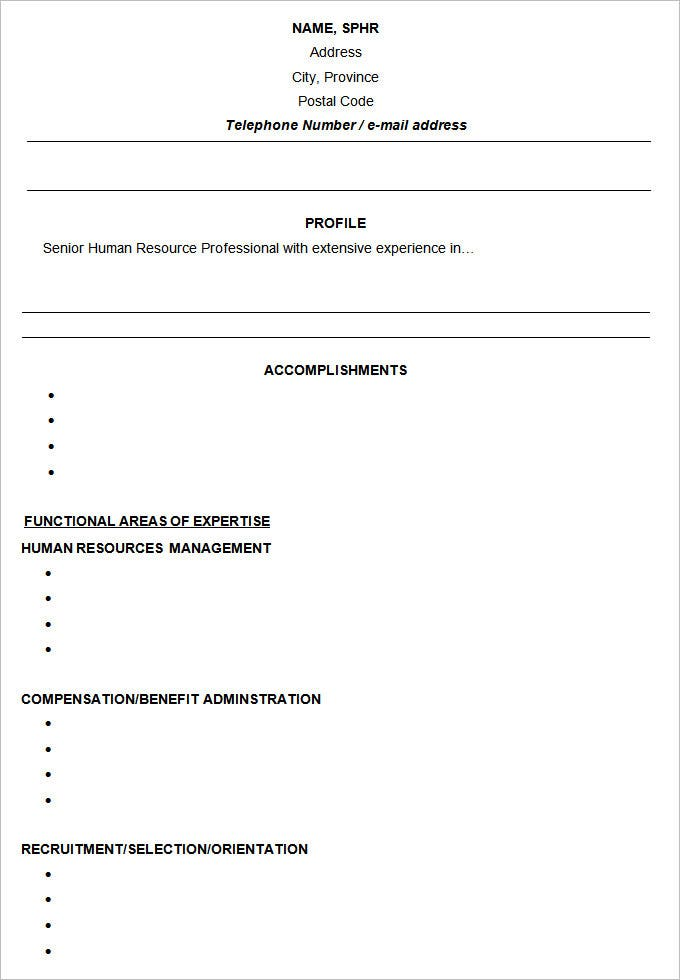 hr functional resume resume sles types of resume formats exles