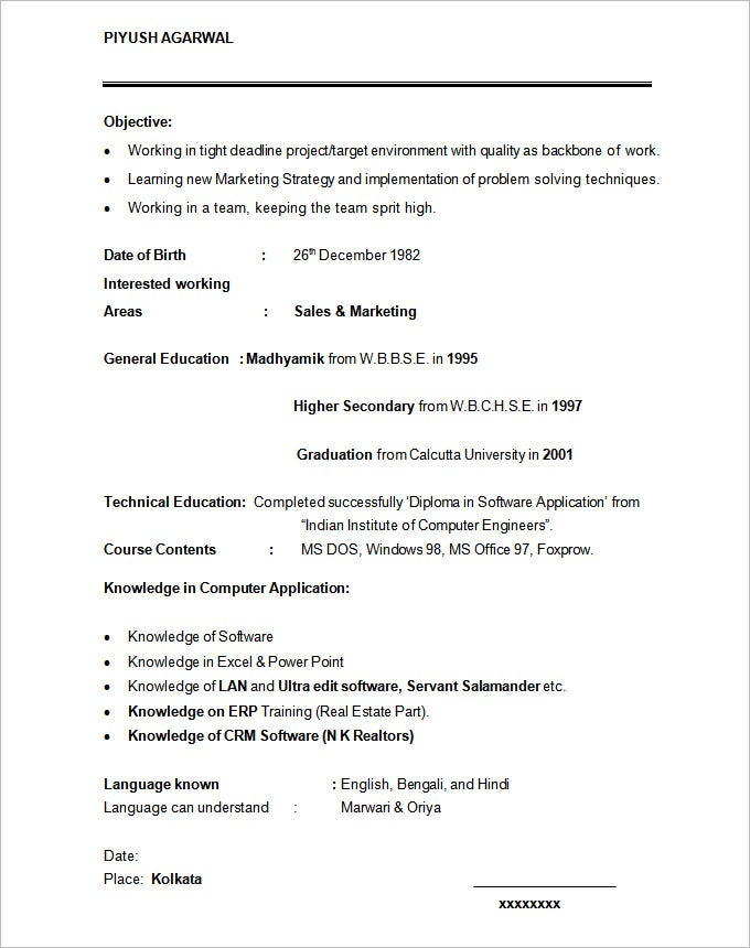 student resume template download - Resume Samples 12th Pass Student
