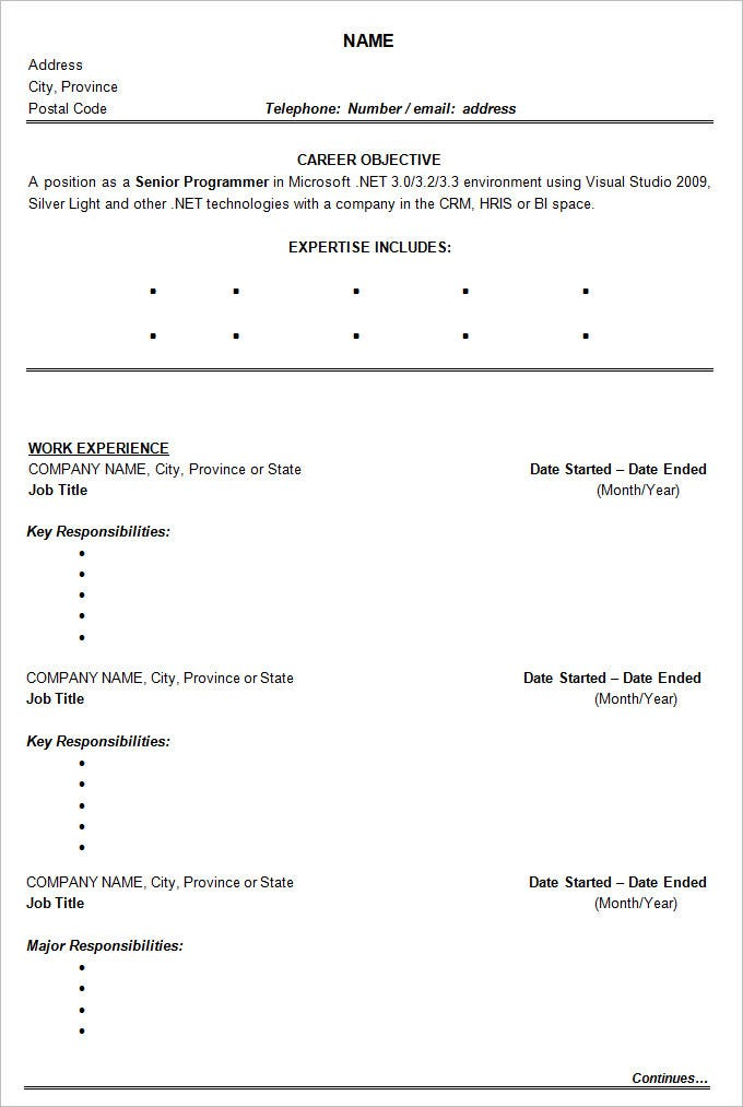 sample management chronological resume template