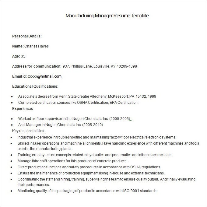 sample manufacturing manager resume template