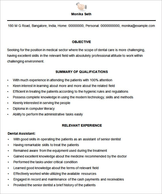 sample medical assistant resume template free download