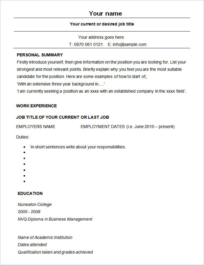 Bon Sample Modern Resume CV Template. Free Download