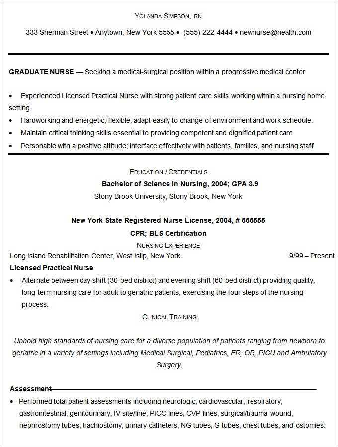 Nurse Resume Template Free. Graduate Nurse Resume Example Best 25+