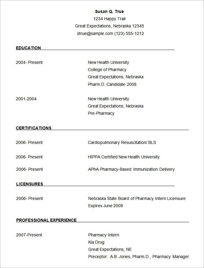 sample pharmacist resume template free download - Free Download For Resume Templates
