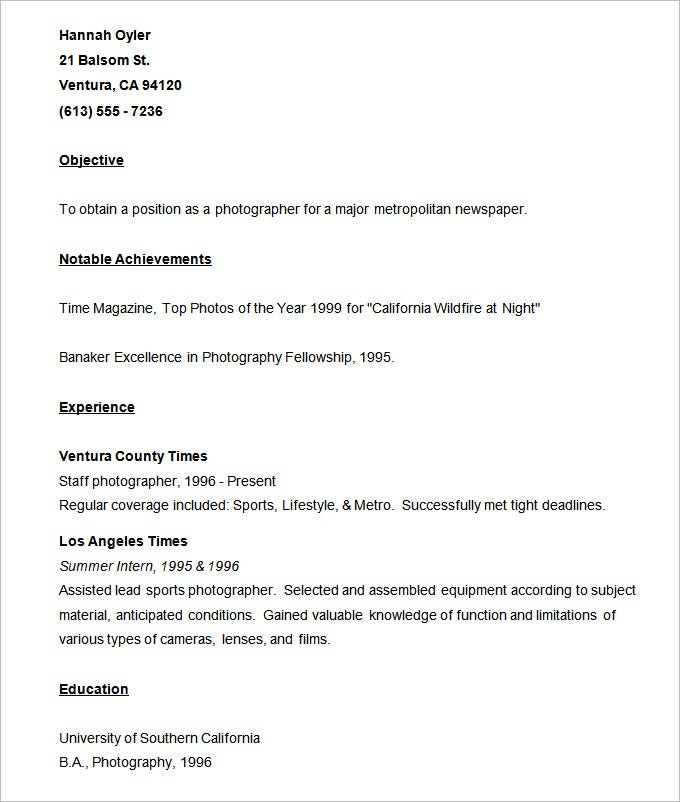 sample photographer resume template13