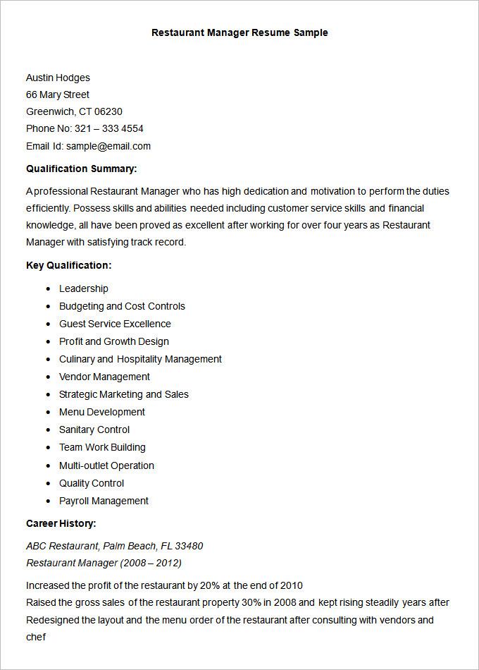resume restaurant supervisor resume sample 5 operations ...