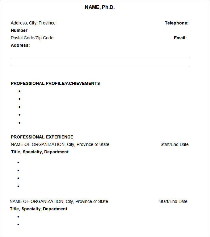 sample resume phd cv template free download - Download Template Resume