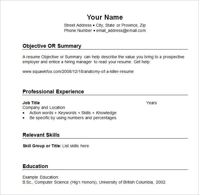 sample resume template chronological