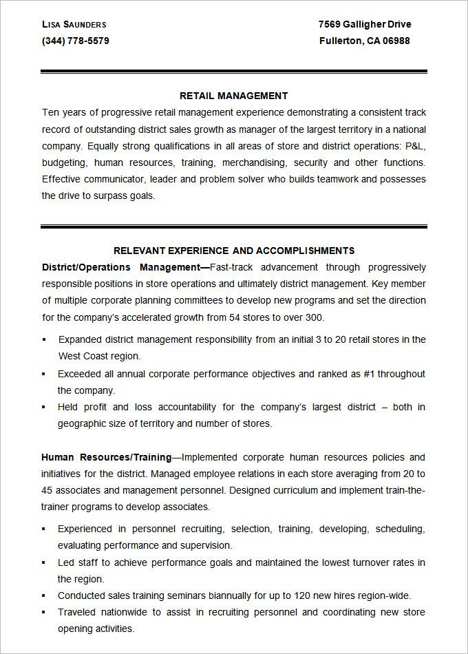 Sample Retail Management Resume Template