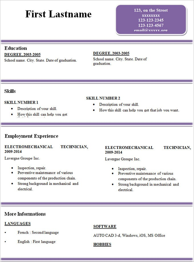 sample simple resume template