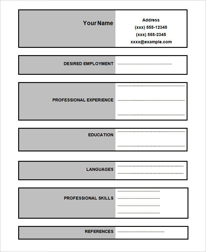 standard resume template example format of resume basic resume