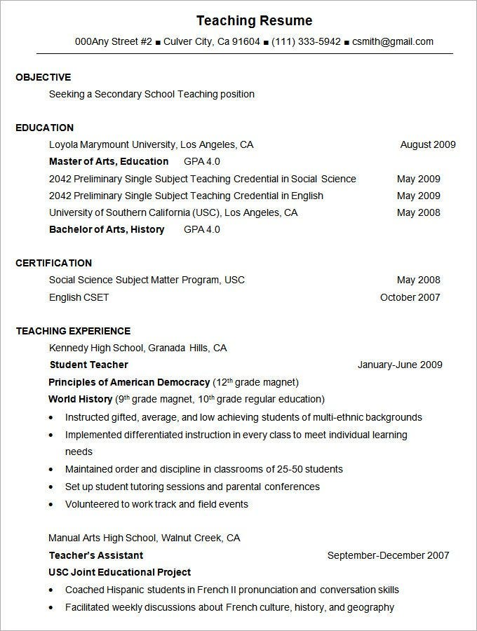 sample teaching resume format template