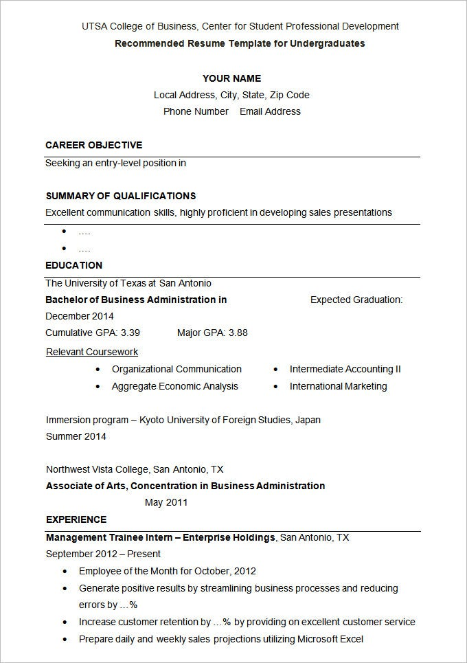 Sample Under Graduates Resume Template