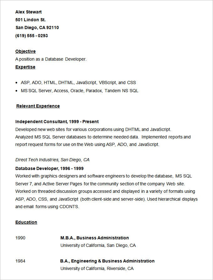 vb programmer resume sample visual basic developer resume template - Database Developer Resume