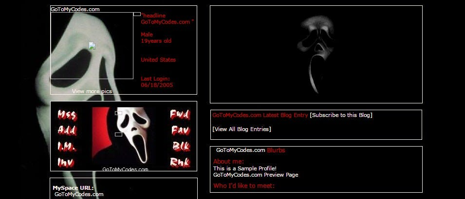 scream movie myspace layouts profile preview at gotomycodes