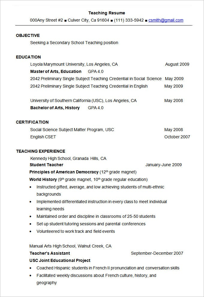 secondary teacher resumes Oylekalakaarico