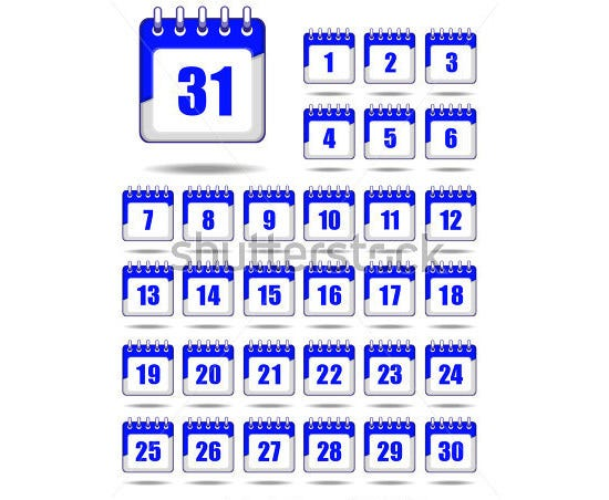 set of calendar icons 10
