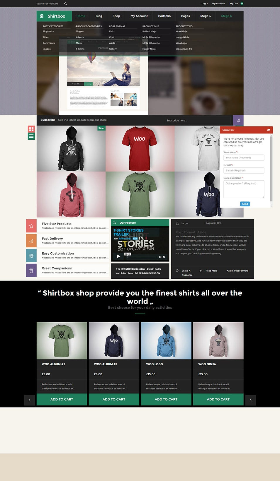 Shirtbox – Flat Design Tee shirt Woocommerce Theme
