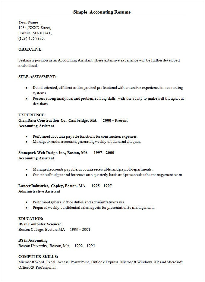 Simple Resume Template Word – Professional Chronological Resume Template