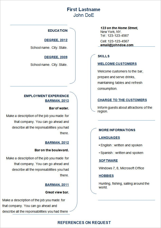 Professional Resume Template Free Download  Sample Resume And