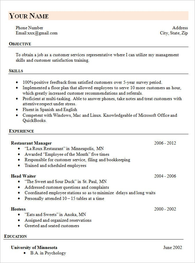 simple resume templates simple resume template 46 free samples examples 24878 | Simple Career Change Resume Template