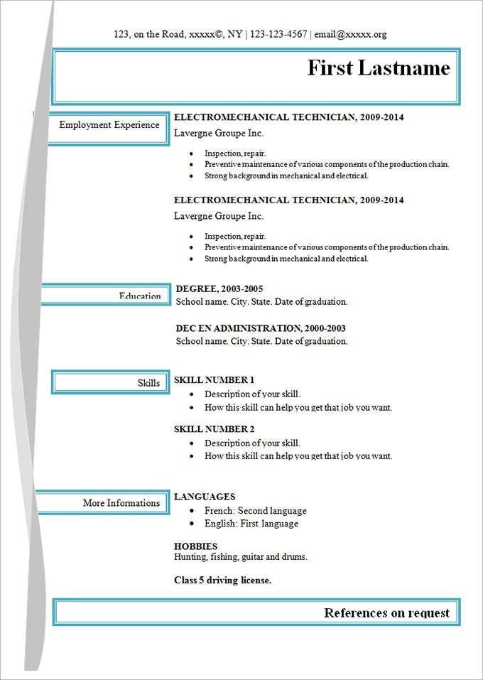 simple electro mechanical resume template