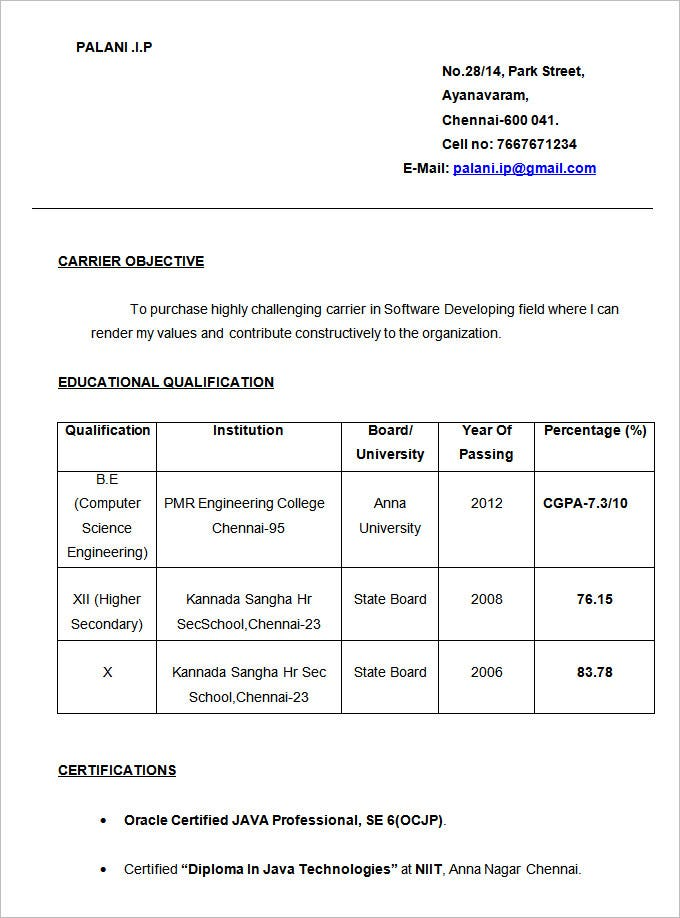 Sample Resume Formats For Engineering Freshers