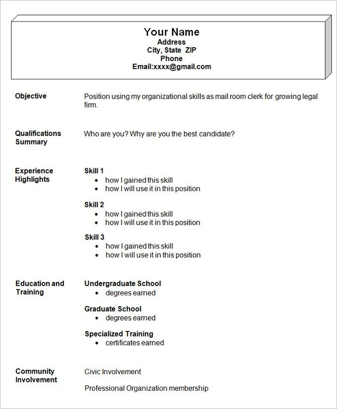 sample easy resumes