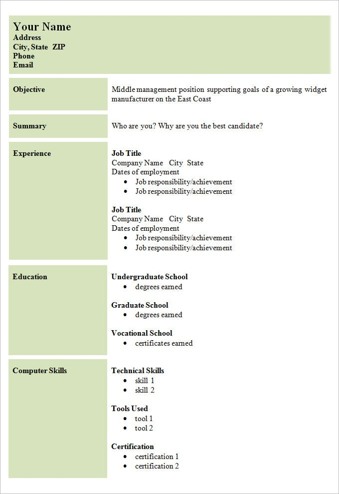 Cv Format Simple  BesikEightyCo