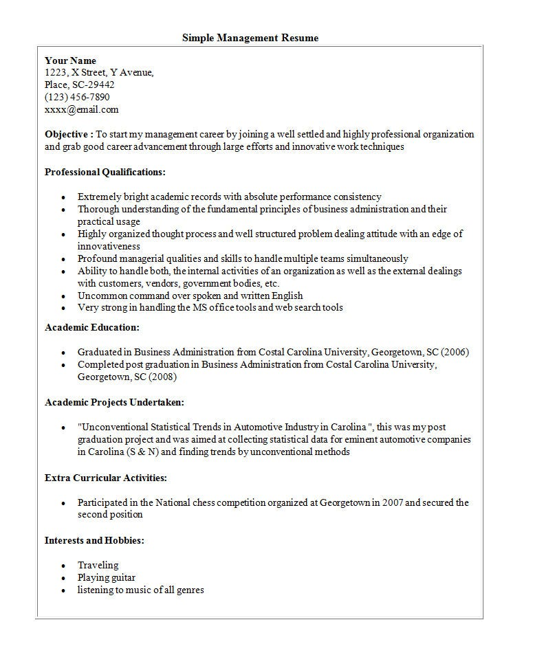 Sample Simple Resume Examples