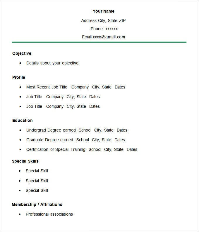 Simple Membership Resume CV Template  Example Of A Simple Resume For A Job