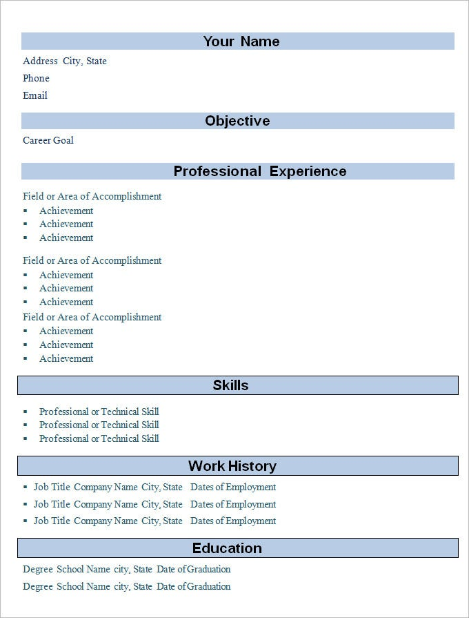 simple professional experience cv resume template