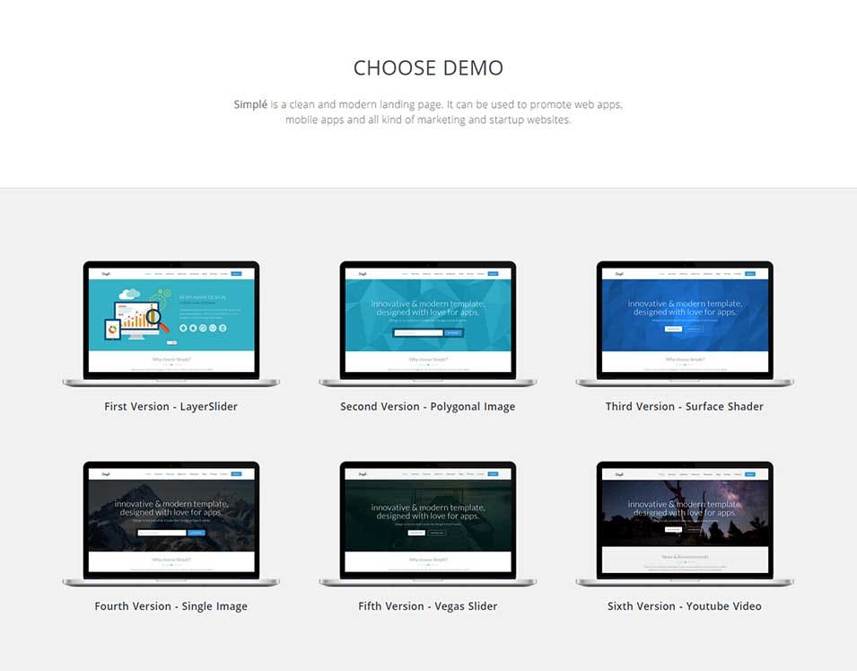 simple responsive startup marketing landing page